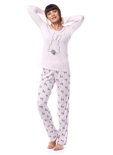 Pamuk & Pamuk Kadın Çam Ağaç Desenli Tavşanlı Pembe Pijama Takımı Pembe